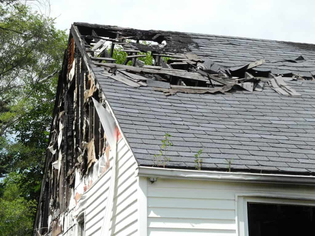 home roof damaged from fire; roof financing options