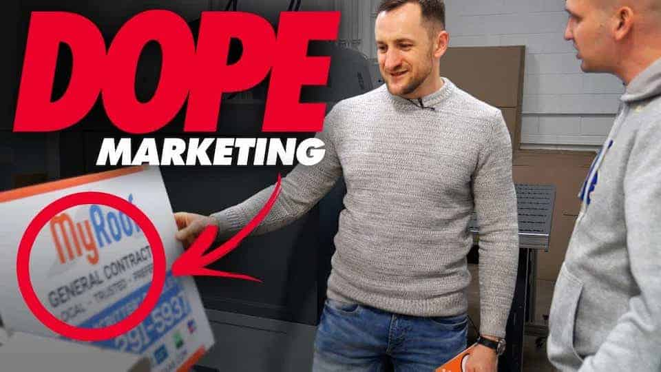 Two men standing in front of a roofing marketing banner; 8 simple ways to generate roofing leads
