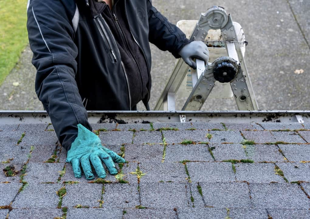 man cleaning his roof to maintain it
